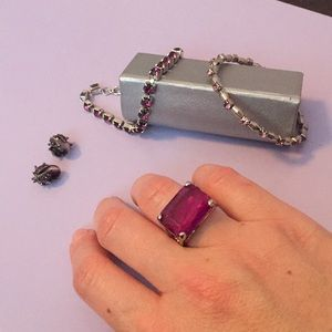 Purple jewelry bundle cocktail ring bracelets hair